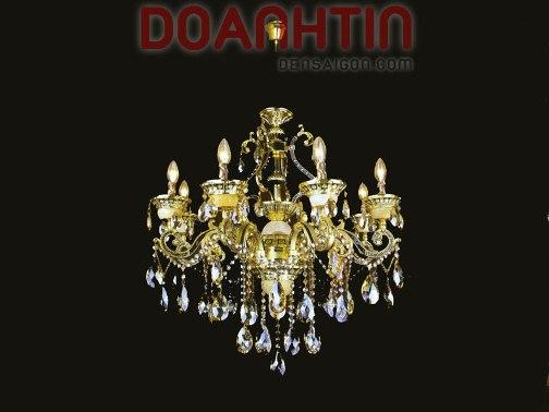 Đèn Chùm Pha Lê Nến Treo Phòng Khách - Densaigon.com