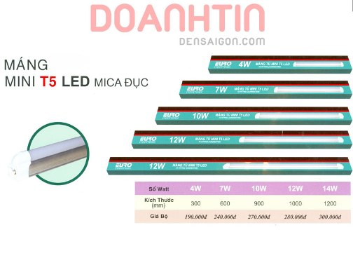 Máng Mini T5 LED Mica Đục