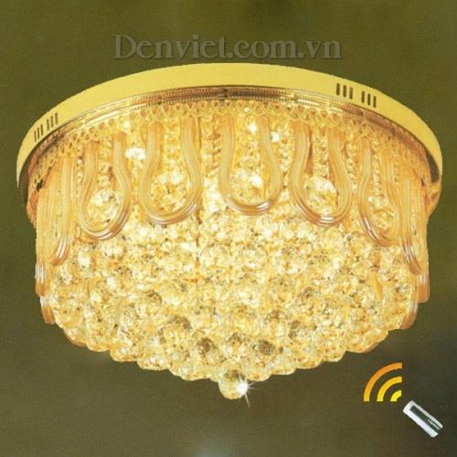 Đèn Chùm LED Pha Lê Màu Vàng Trang Trí Phòng Khách Nổi Bật