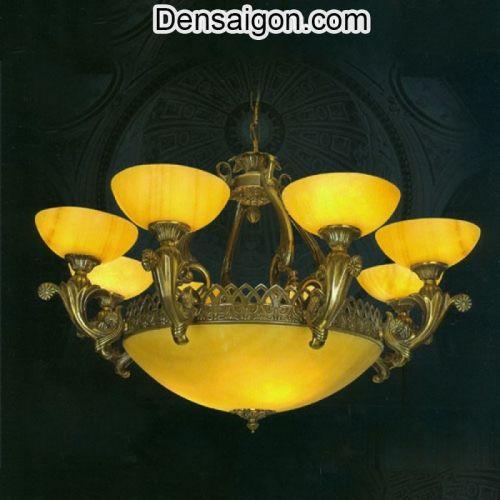 Đèn Chùm Đồng Chao Đá Đẹp Giá Rẻ Treo Phòng Khách - Densaigon.com