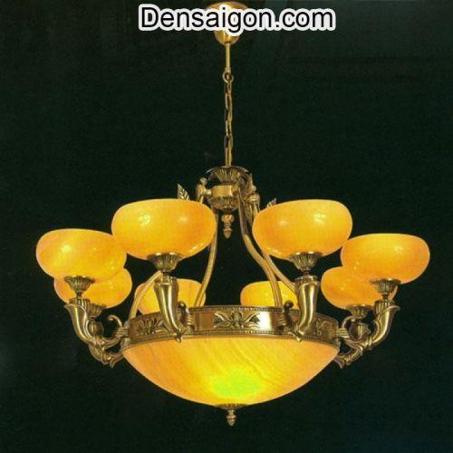 Đèn Chùm Đồng Chao Đá Đẹp Treo Phòng Khách - Densaigon.com