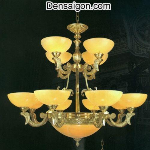 Đèn Chùm Đồng Chao Đá Kiểu Dáng Cổ Điển - Densaigon.com