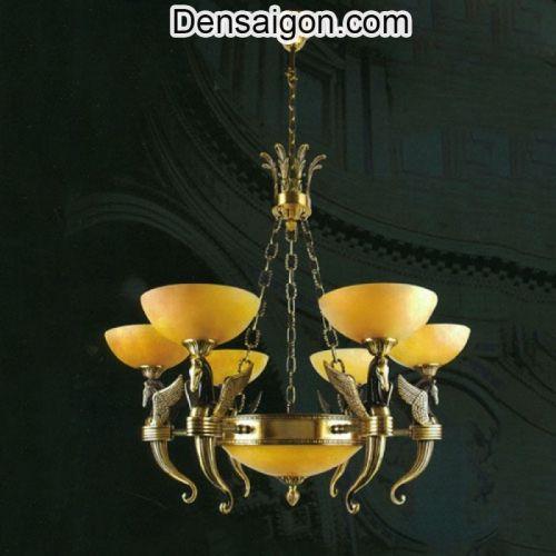 Đèn Chùm Đồng Chao Đá Màu Vàng Phong Cách Cổ Điển - Densaigon.com