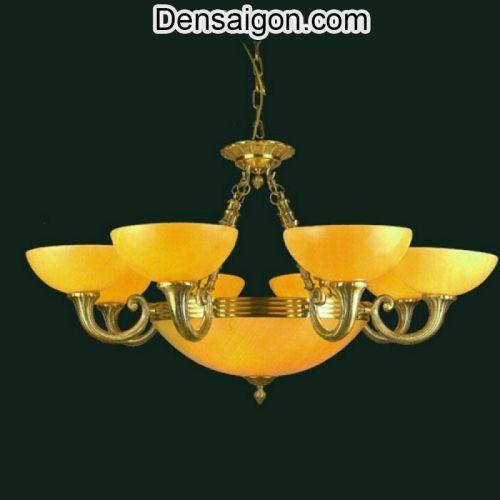 Đèn Chùm Đồng Chao Đá Màu Vàng Phong Cách Hoàng Gia - Densaigon.com