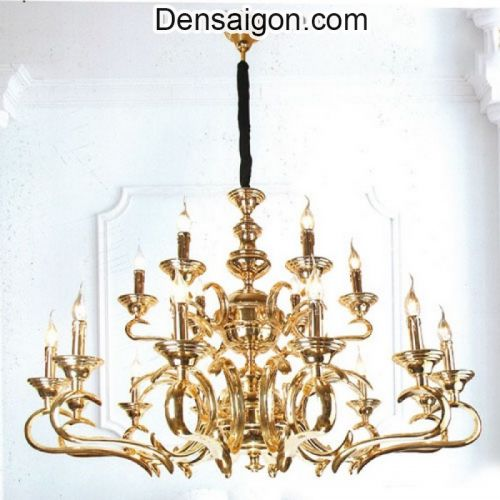 Đèn Chùm Pha Lê Nến Chất Liệu Đồng Mạ Vàng - Densaigon.com