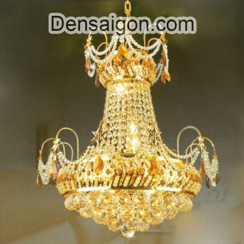 Đèn Chùm Pha Lê Nến Mạ Vàng Thiết Kế Đẹp - Densaigon.com
