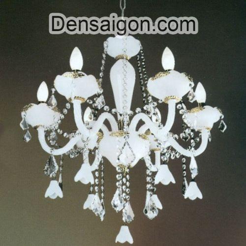 Đèn Chùm Pha Lê Nến Màu Trắng Đẹp - Densaigon.com