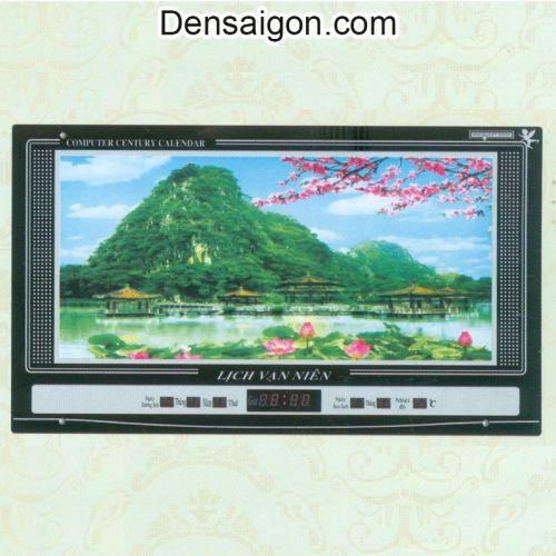 Tranh Đồng Hồ Phong Cảnh Sông Núi - Densaigon.com