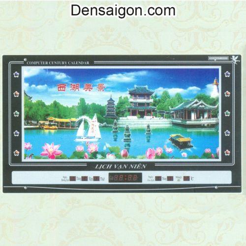 Tranh Đồng Hồ Phong Cảnh Chùa Miễu - Densaigon.com