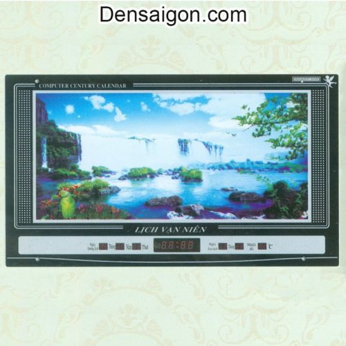 Tranh Đồng Hồ Phong Cảnh Thác Nước - Densaigon.com