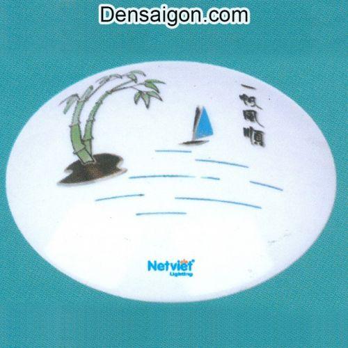 Đèn Áp Trần Tròn Họa Tiết Con Đò Trên Sông - Densaigon.com