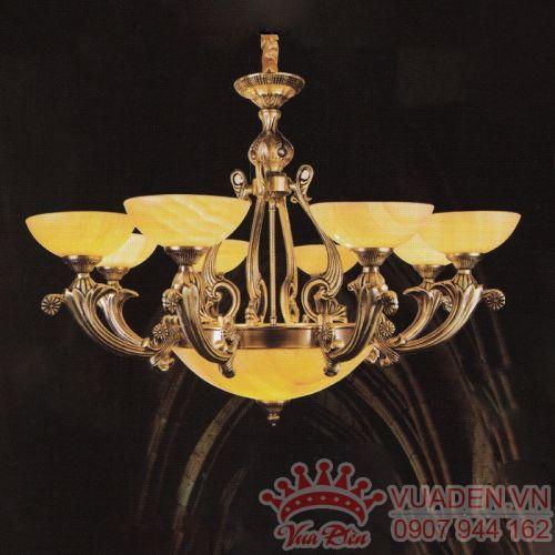 Đèn chùm chao đá tự nhiên trang trí phòng khách đẹp - Densaigon.com