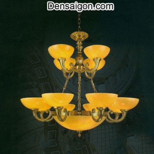 Đèn Chùm Đồng Chao Đá Cao Cấp Màu Vàng - Densaigon.com