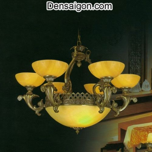 Đèn Chùm Đồng Chao Đá Giá Rẻ Treo Phòng Khách - Densaigon.com