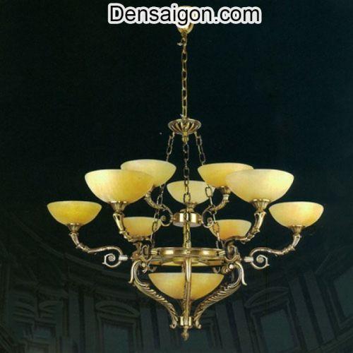 Đèn Chùm Đồng Chao Đá Màu Vàng Thiết Kế Cổ Điển - Densaigon.com