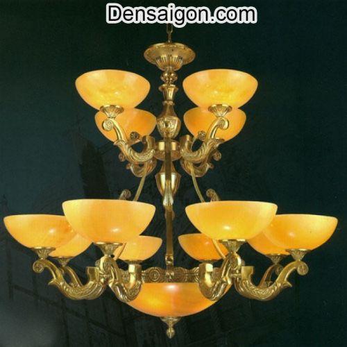Đèn Chùm Đồng Chao Đá Phong Cách Cổ Điển - Densaigon.com