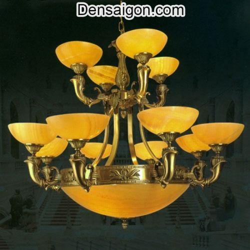 Đèn Chùm Đồng Chao Đá Thiết Kế Cao Cấp - Densaigon.com