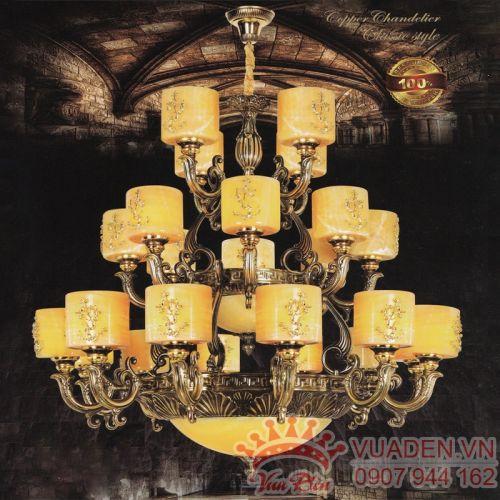 Đèn chùm đồng chao đá trang trí nhà hàng ấn tượng - Densaigon.com