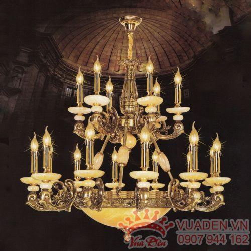 Đèn chùm đồng chao đá trang trí nhà hàng đẹp - Densaigon.com