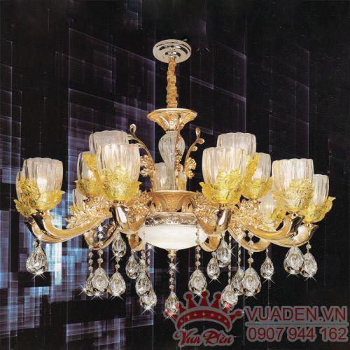 Đèn chùm pha lê chao hoa trang trí phòng khách lớn - Densaigon.com