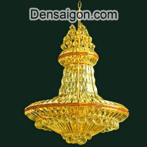 Đèn Chùm Pha Lê Mạ Vàng Treo Phòng Khách - Densaigon.com