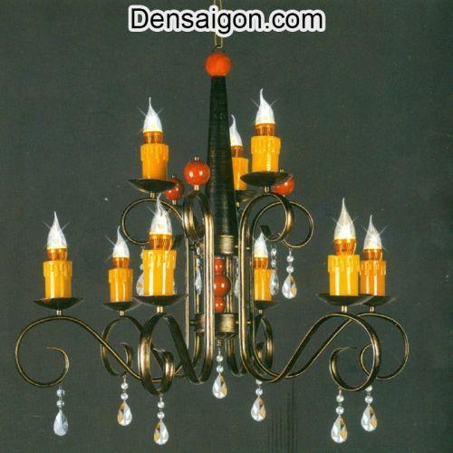 Đèn Chùm Pha Lê Nến Màu Vàng - Densaigon.com